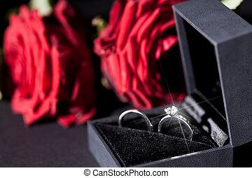 roses, anneau, engagement, rouges, tas