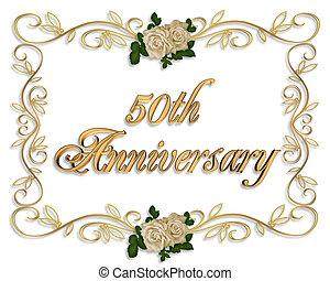roses, anniversaire, 50th