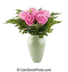 Arrangement of pink roses in a vase