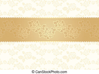Roses background with lace, gold