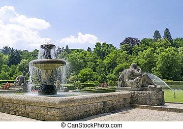 roses., baden-baden., parc, fontaine, allemagne