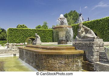 roses., baden-baden., parque, fuente, alemania