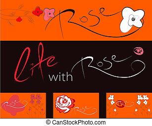 roses, bannières, ensemble, fleurs