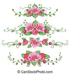 roses, bannières, ensemble