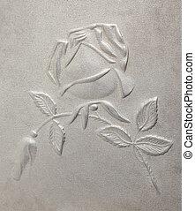 roses, bas-relief, métal, dépeindre
