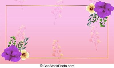 roses, beau, décoration, pourpre, cadre, floral