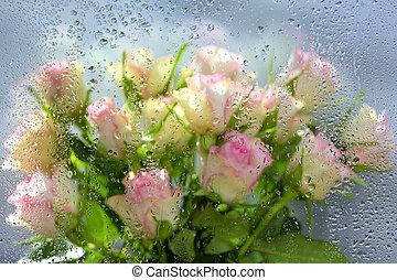 Roses behind of a window with water drops