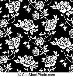 roses, blanc, noir