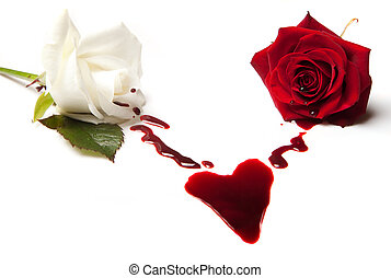 Two bleeding roses forming a heart shaped blood stain