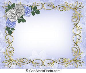 roses, bleu, mariage, frontière