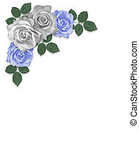 Roses Blue and white Corner