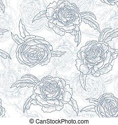 Roses. Blue floral seamless pattern, vector illustration