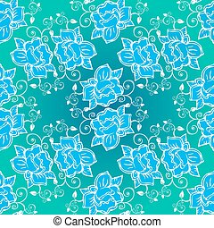 roses blue seamless pattern