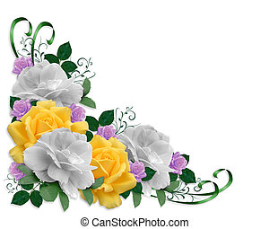 Roses Border Easter Colors - Image and illustration...