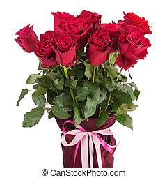roses, bouquet, balloon, isolé, vase, arrière-plan., blanc rouge, closeup.