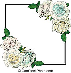Roses bouquet elements in sketch style at corners of square shape with copy space.