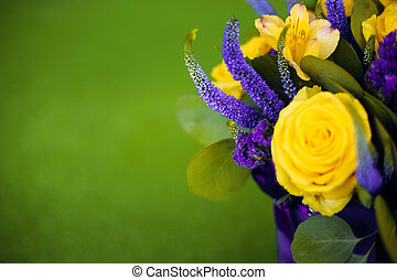 Roses bouquet of flower gift close up, Greeting card yellow violet color flowers isolated on green grass.  Birthday and other holiday spring background