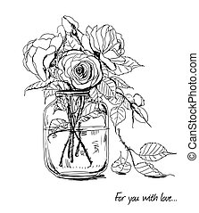 Roses - Bouquet of hand -drawn roses in glass jar