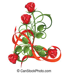 Bouquet of red roses and bow.