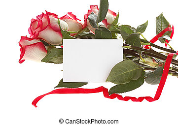 roses bouquet with card
