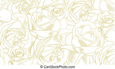 Roses bud outlines. Pattern with flowers in yellow and golden colors. Abstract art, hand-drawn romantic background. Vector illustration, eps10