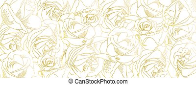 Roses bud outlines. Vector pattern with contours of flowers in golden colors. Abstract art, hand-drawn romantic background. Vector illustration, eps10. Template for poster, banner, cover, leaflets