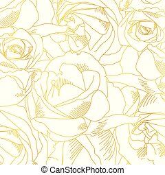 Roses bud outlines. Vector pattern with contours of flowers in golden colors. Style of Sketch or doodle. Abstract hand-drawn background. Vector illustration, eps10.