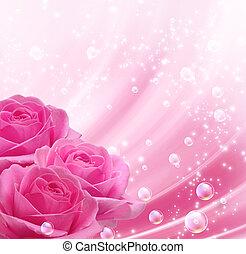 roses, bulles