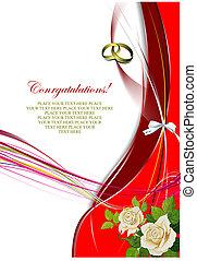 rose`s, bunch., köszönés, ábra, vektor, esküvő, kártya