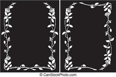 roses, cadre, -, blanc, noir