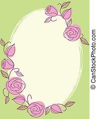 roses, cadre, dessiné, printemps, main