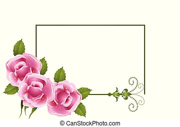 roses, cadre, fleur, salutations, carte