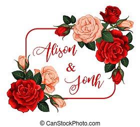 roses, cadre, vecteur, fleurs, noms