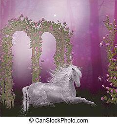 roses, cheval, jardin