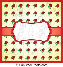 roses, chiffonné, dentelle, cadre