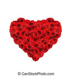 roses, coeur rouge