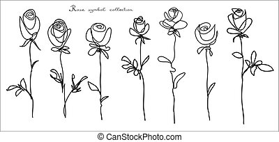 Roses. Collection of isolated flower sketch on white background