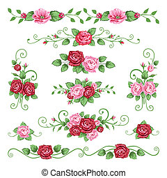 Vector collection of roses banners in the victorian style. All objects are grouped