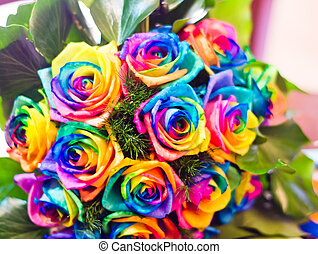 roses colored with the colors of rainbow