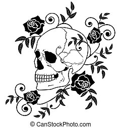 roses, crâne