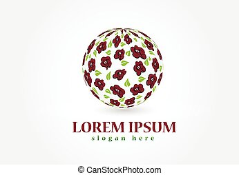 roses, dans, a, balle, forme, logo