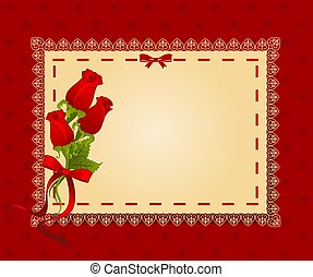 roses, dentelle, ornements