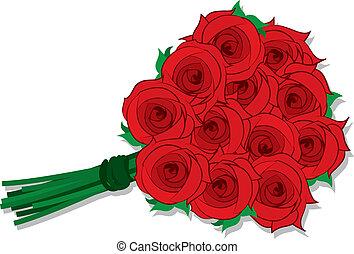 Roses Dozen  - Isolated dozen roses grouped together