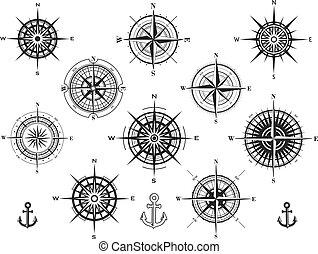 roses, ensemble, ou, vent, compas