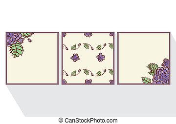 roses., ensemble, résumé, cartes