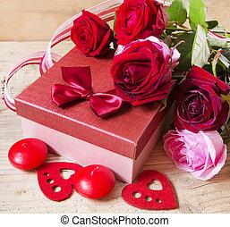 roses, et, cadeau, pour, jour valentine