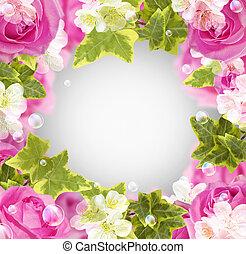 roses, et, fleurs blanches