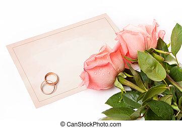 roses, félicitations, anneaux, carte, vide