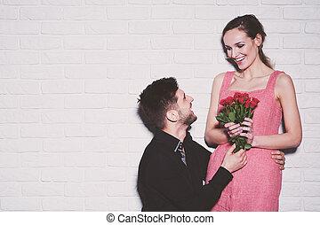 roses, femme, réception, petit ami