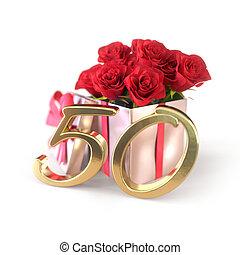 roses, fiftieth., arrière-plan., anniversaire, isolé, cadeau, blanc, 50th., render, concept, rouges, 3d